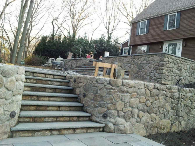 Round Connecticut Stone Walls, Terraces, and Steps, Greenwich, CT, by Prado Stoneworks