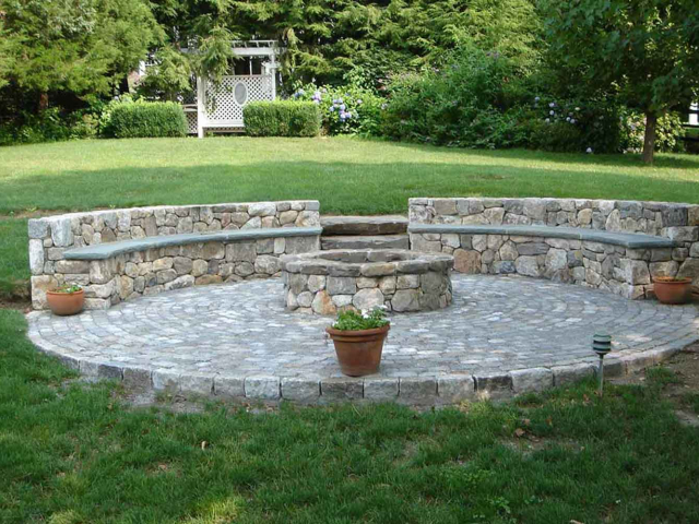 Natural Stone Firepit with Seating Wall, Wilton, CT, by Prado Stoneworks