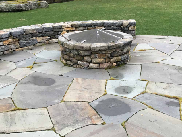 Full-Color Bluestone Firepit Area with Seating, Waccabuc, NY, by Prado Stoneworks