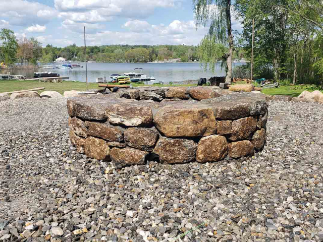 Natural Stone Firepit with Gravel Area and Stone Edging, North Salem, NY, by Prado Stoneworks