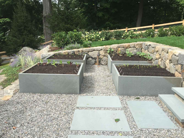 Terrace Garden with Bluestone Boxes, Walkway, and Dry Walls, Bedford Hills, NY, by Prado Stoneworks