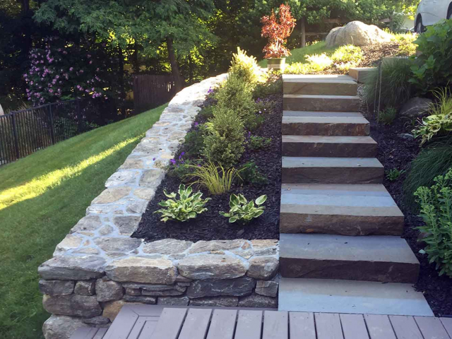 Natural Garden Wall with Large Stepping Stone Steps, Mahopac, NY, by Prado Stoneworks