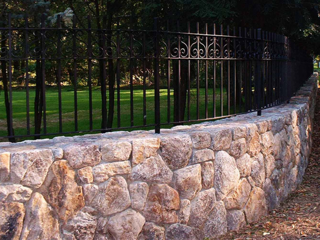 Connecticut Stone Wall with Fencing Top, Greenwich, CT, by Prado Stoneworks and Grand Design