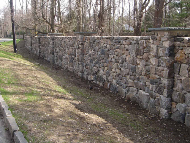 Dry Stone Wall with Columns, Greenwich, CT