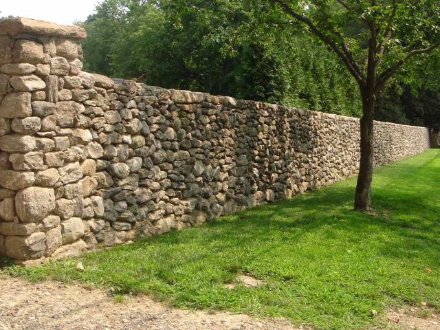 6-Foot, 330 Linear Foot Dry Stone Wall and Pillars, Greenwich, CT