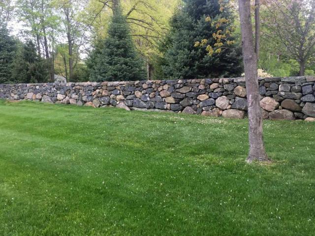 Dry Wall with Reclaimed Stones, Pound Ridge, NY, by Prado Stoneworks