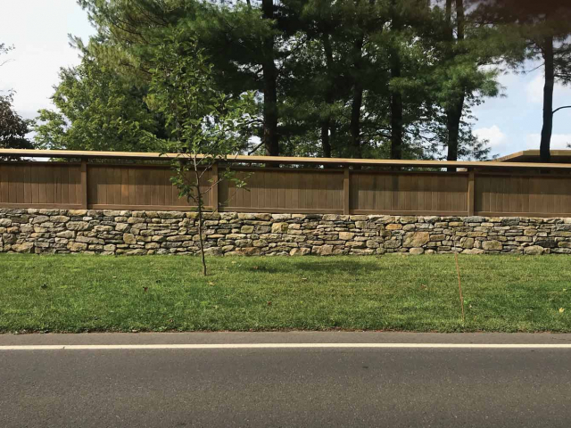 Dry Stone Wall with Fencing Top, Greenwich, CT, by Prado Stoneworks