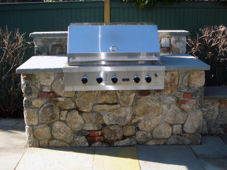 Stone and Brick Barbeque Veneer with Seating Wall, New Canaan, CT, by Prado Stoneworks