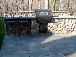 Stone Veneer BBQ on Bluestone Patio, New Canaan, CT, by Prado Stoneworks