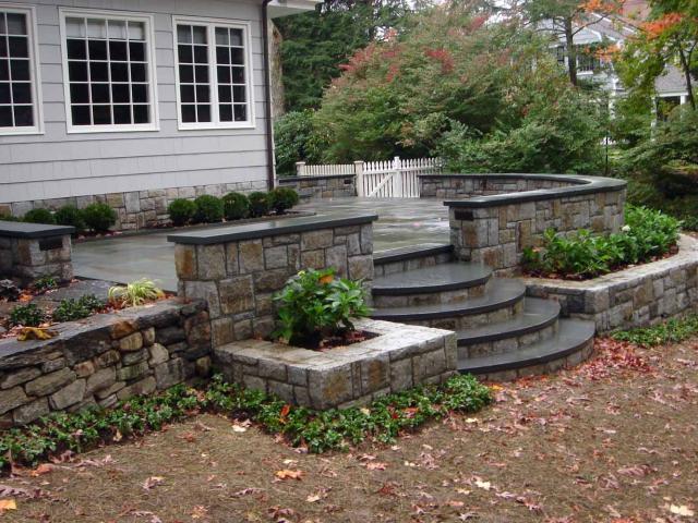 Bluestone Patio with Connecticut Stone Walls, Wilton, CT, by Prado Stoneworks