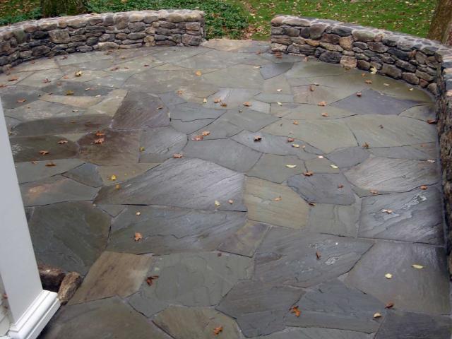 Bluestone Patio with Dry Walls, Wilton, CT, by Prado Stoneworks