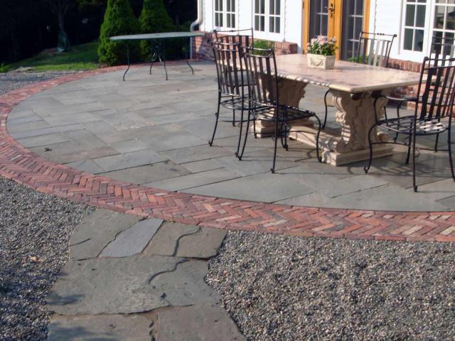 Bluestone Patio with Brick Border and Irregular Step Walkway, Wilton, CT, by Prado Stoneworks