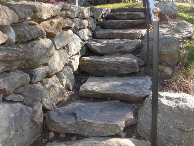 Slab  Stone Steps and Dry Wall, Greenwich, CT, by Prado Stoneworks
