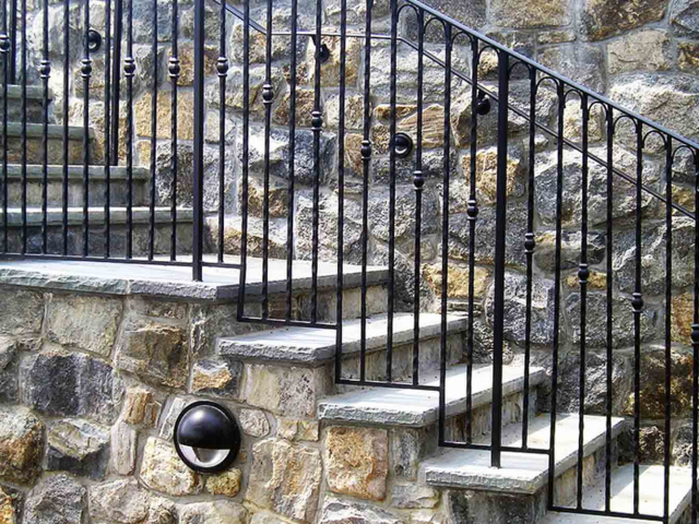 Bluestone Steps, Greenwich CT, by Prado Stoneworks and Ironwork by Grand Designs