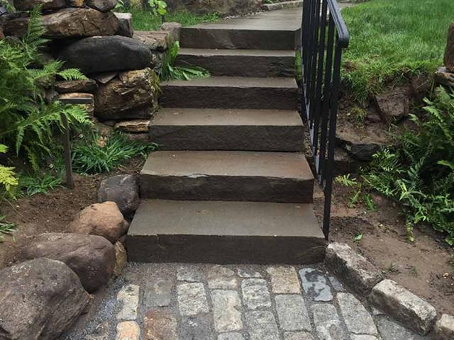 Step Stones with Belgium Block Apron, Bedford, NY, by Prado Stoneworks
