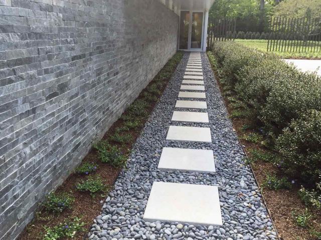 Limestone Walkway and Thin Veneer Stone Wall, New Canaan, CT, by Prado Stoneworks