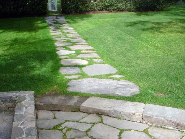 Natural Stone Walkway, Patio and Wall by Prado Stoneworks