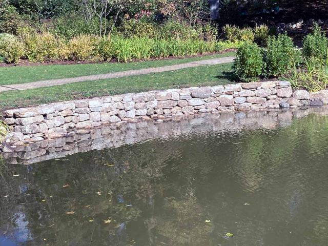 Pond Retaining Wall, Bedford HIlls, NY, by Prado Stoneworks