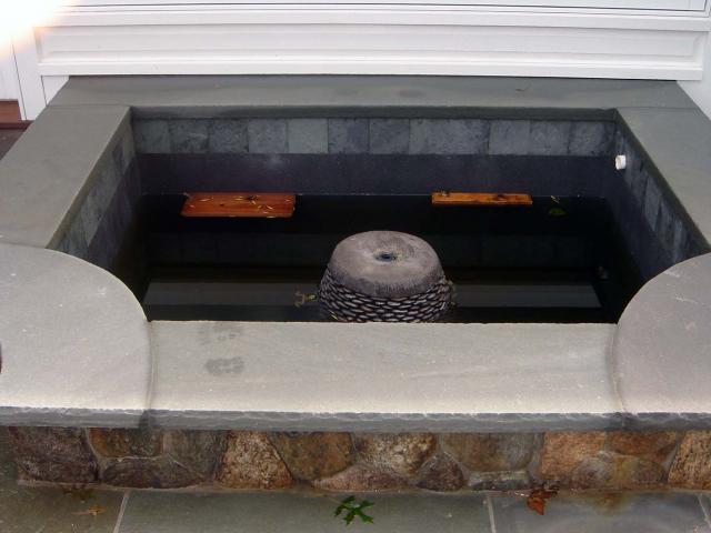 Fountain on Bluestone Patio, Wilton, CT, by Prado Stoneworks