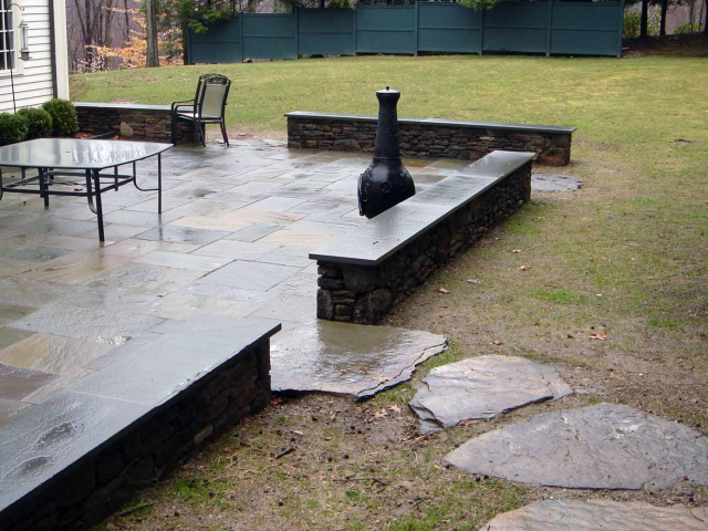 Bluestone Patio, Walls, and Stepping Stones, New Canaan, CT, by Prado Stoneworks