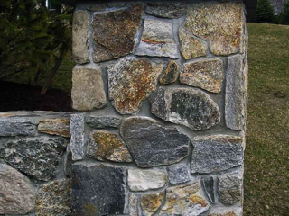 New England Stone Entranceway Pillar and Wall, Greenwich, CT, by Prado Stoneworks