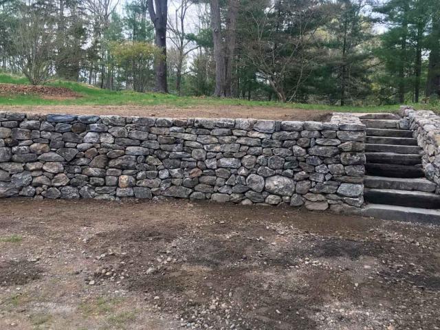 Parking Area Dry Retaining Walls and Steps, Pound Ridge, NY, by Prado Stoneworks